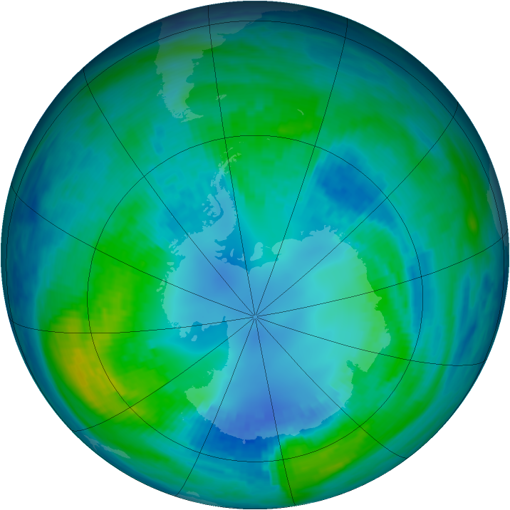 Antarctic ozone map for 21 April 1988